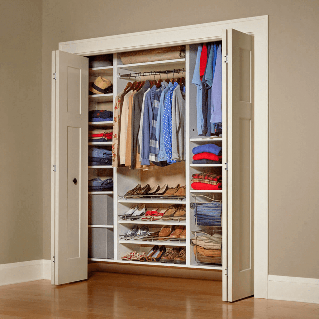 shoes arrangement in wardrobe