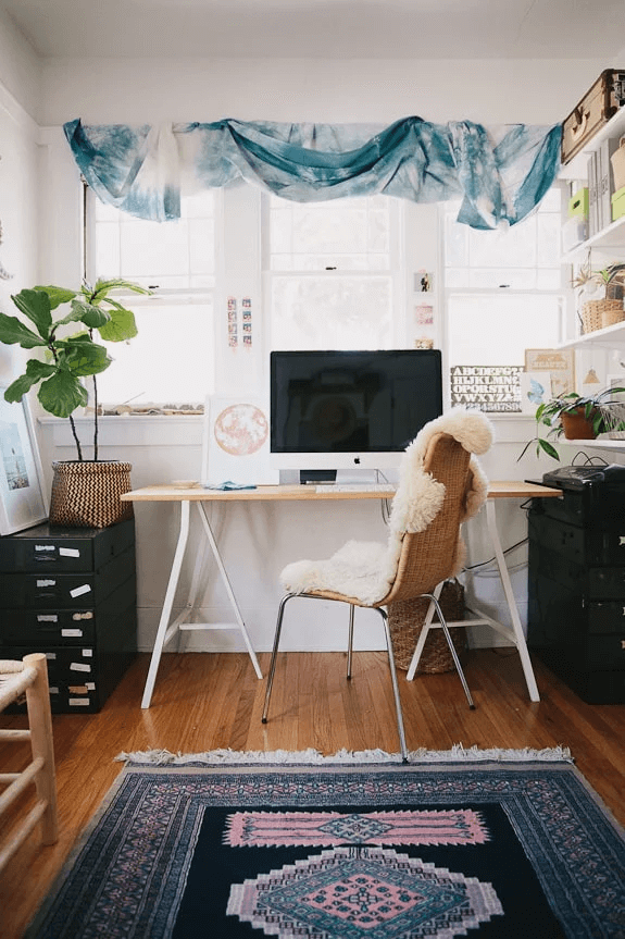 bohemian style office decor